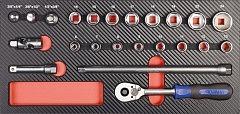 """3/8"""" Werkzeug-Satz Einlage 23tlg"""